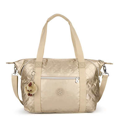 Art Quilted Metallic Handbag - Toasty Gold Embossed