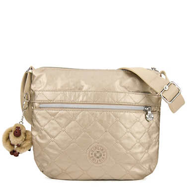 Arto Quilted Metallic Crossbody bag - Toasty Gold Embossed