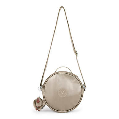 Raquel Metallic Round Handbag - Metallic Pewter