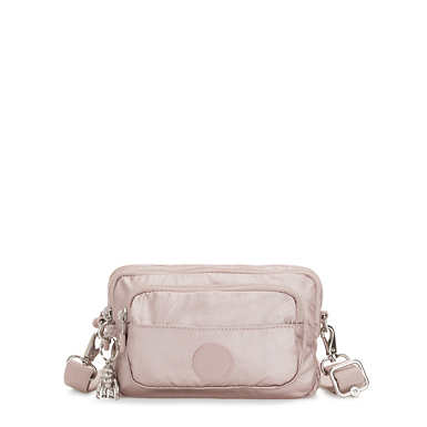 Multiple 2-in-1 Metallic Convertible Crossbody Bag - Metallic Rose