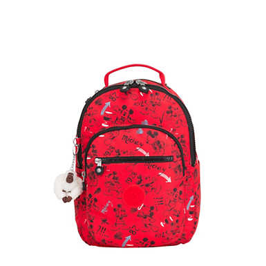 키플링 Kipling Seoul Go Small샵디즈니 Disneys Minnie Mouse and Mickey Mouse 11 Laptop Backpack,Sketch Red