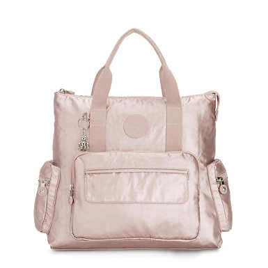 Alvy 2-in-1 Convertible Tote Bag Metallic Backpack - Metallic Rose