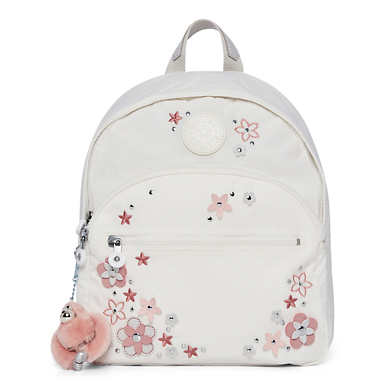 Paola Small Backpack - Alabaster Flower Tonal Zipper