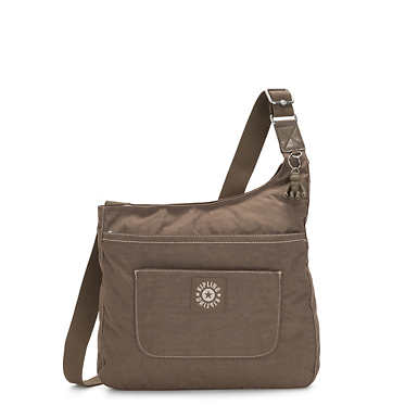 키플링 Kipling DelilahCrossbody Bag,Soft Earthy Beige Tonal Zipper