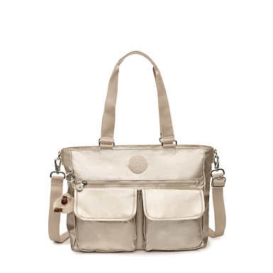Pia Metallic Tote Bag - Cloud Grey Metallic