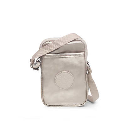 Tally Metallic Phone Crossbody Bag - Cloud Grey Metallic