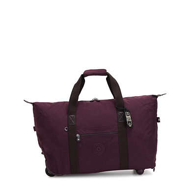 Art On Wheels Medium Rolling Tote Bag - Dark Plum