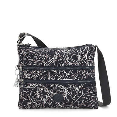 Alvar Printed Crossbody Bag - Navy Stick
