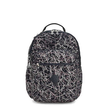 키플링 서울 백팩 라지 15인치 네이비 Kipling Seoul Large15 Laptop Printed Backpack,Navy Stick