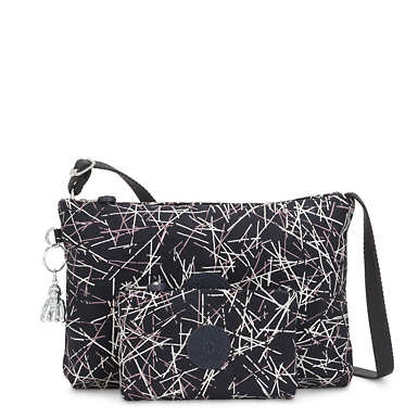 Atlez Duo Printed Crossbody Bag and Pouch Gift Set - Navy Stick