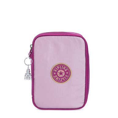 키플링 100 메탈릭 펜 케이스 Kipling 100 Pens Metallic Case,Bright Pink Metallic Block