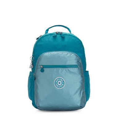 """Seoul Large Metallic 15"""" Laptop Backpack - Turquoise Sea Metallic Block"""