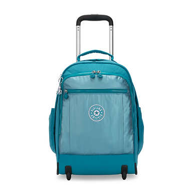 키플링 게이즈 랩탑 롤링 백팩 15인치 라지 Kipling Gaze Large Metallic 15 Laptop Rolling Backpack,Turquoise Sea Metallic Block