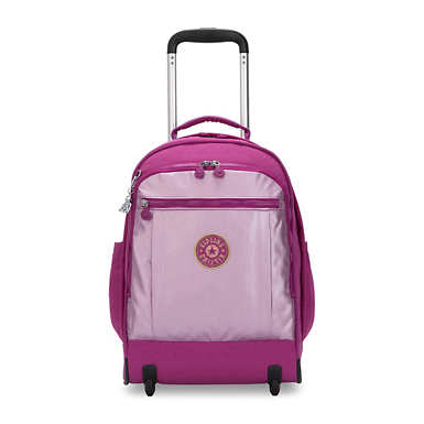 키플링 게이즈 랩탑 롤링 백팩 15인치 라지 Kipling Gaze Large Metallic 15 Laptop Rolling Backpack,Bright Pink Metallic Block