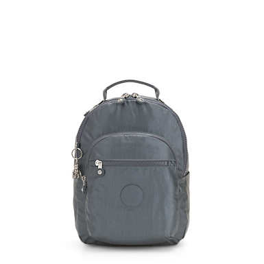 키플링 서울 백팩 스몰 11인치 메탈릭 Kipling Seoul Small11 Laptop Metallic Backpack,Steel Grey Metal