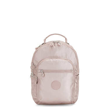"""Seoul Small 11"""" Laptop Metallic Backpack - Metallic Rose"""