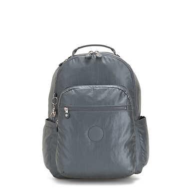 키플링 서울 백팩 라지 15인치 메탈릭 Kipling Seoul Large15 Laptop Metallic Backpack,Steel Grey Metal