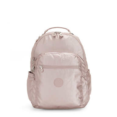 키플링 서울 백팩 라지 15인치 메탈릭 Kipling Seoul Large15 Laptop Metallic Backpack,Metallic Rose
