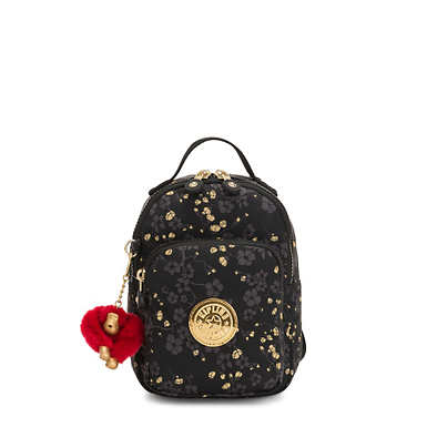 Alber 3-In-1 Printed Convertible Mini Bag Backpack - Grey Gold Floral