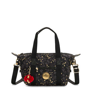 Art Printed Mini Handbag - Grey Gold Floral
