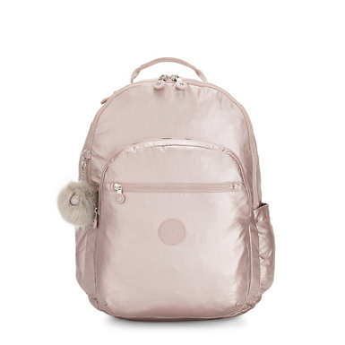 "Seoul Extra Large 17"" Laptop Metallic Backpack - Metallic Rose"