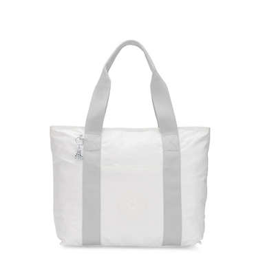 Era Medium Metallic Tote Bag - White Metal O