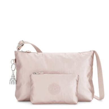 Atlez Duo Metallic Crossbody Bag and Pouch Gift Set - Metallic Rose