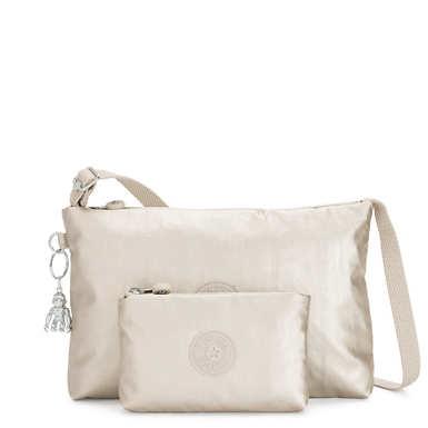 Atlez Duo Metallic Crossbody Bag and Pouch Gift Set - Cloud Metallic