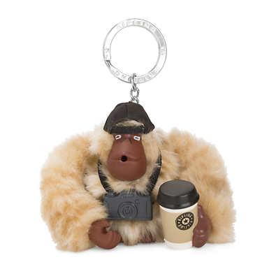 Travel Monkey Keychain - Silver Beige
