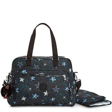 Alanna Printed Diaper Bag - Disco Mirrors