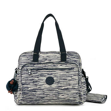 Alanna Printed Diaper Bag - Scribble Lines Blue