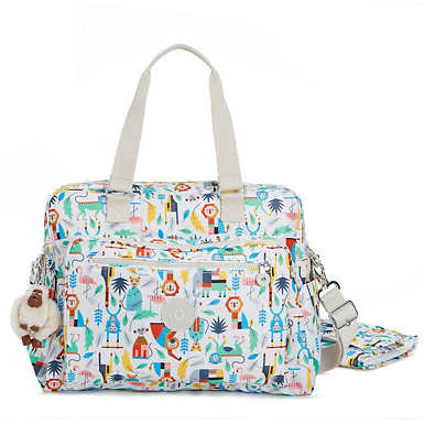 Alanna Printed Diaper Bag - True Blue