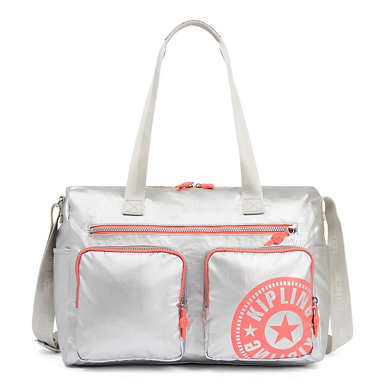 Stefany Metallic Gym Tote Bag - Platinum Metallic
