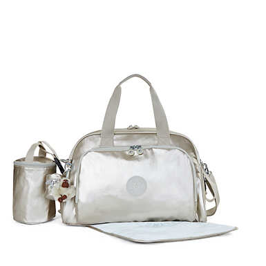 Camama Metallic Diaper Bag - Cloud Grey Metallic