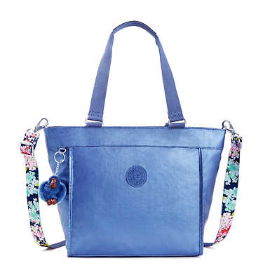 New Shopper Small Metallic Tote Bag - Metallic Scuba Diver Blue
