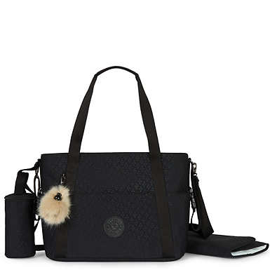 Little Heart Diaper Bag Tote - Black Q EMB