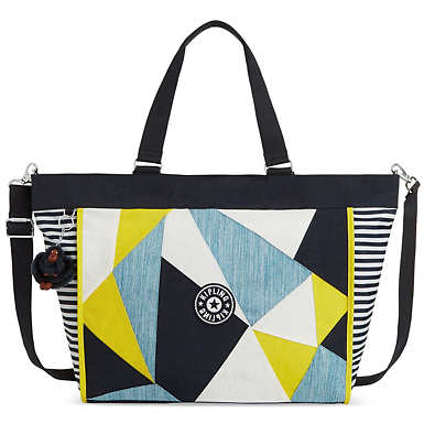 New Shopper Extra Large Printed Tote Bag - True Blue Multi