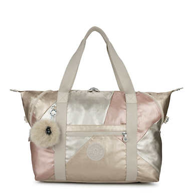 Art Medium Color Blocked Metallic Tote Bag