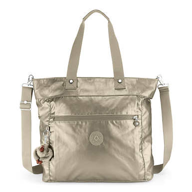 Lizzie Metallic Laptop Tote Bag - Metallic Pewter