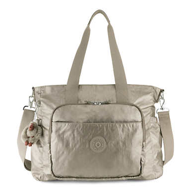 Miri Metallic Diaper Bag - Metallic Pewter
