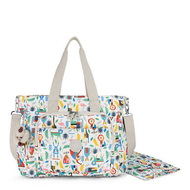 Miri Printed Diaper Bag - True Blue