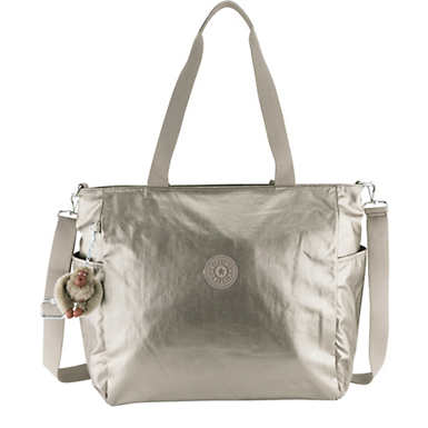 Lindsey Metallic Tote Bag - Metallic Pewter