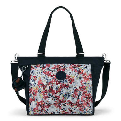 New Shopper Small Printed Handbag - Busy Blossoms Blue Combo