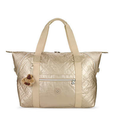 Art Medium Metallic Quilted Tote Bag - Toasty Gold Embossed
