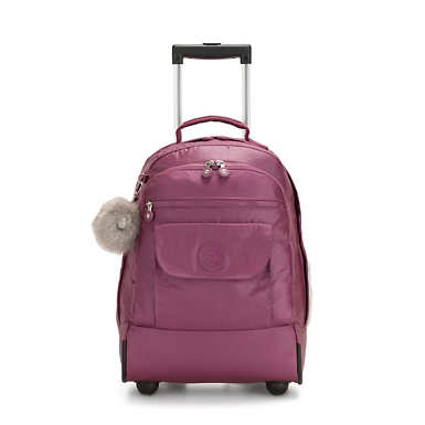 Sanaa Large Metallic Rolling Backpack - Fig Purple Metallic