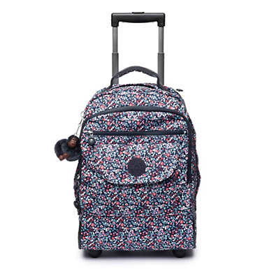 키플링 사나 프린티드 롤링 백팩 라지 Kipling SanaaLarge Printed Rolling Backpack,Glistening Poppy Blue
