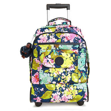 Sanaa Large Printed Rolling Backpack - Luscious Florals Blue
