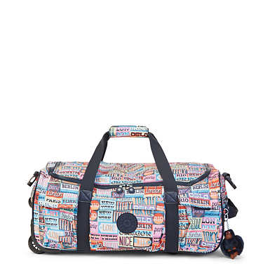 Discover Small Printed Wheeled Duffel Bag - Hello Weekend