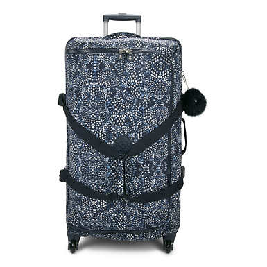 Cyrah Large Printed Rolling Luggage - Soft Feather