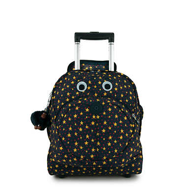 Big Wheely Printed Kids Rolling Backpack - Cool Star Boy